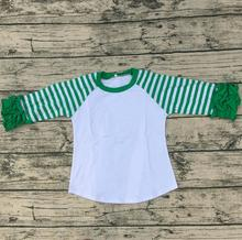 Kids Clothing Wholesale New Cotton Toddler Baby Clothes Icing Raglan Shirt Beautiful Green Stripe Long Sleeve Shirt