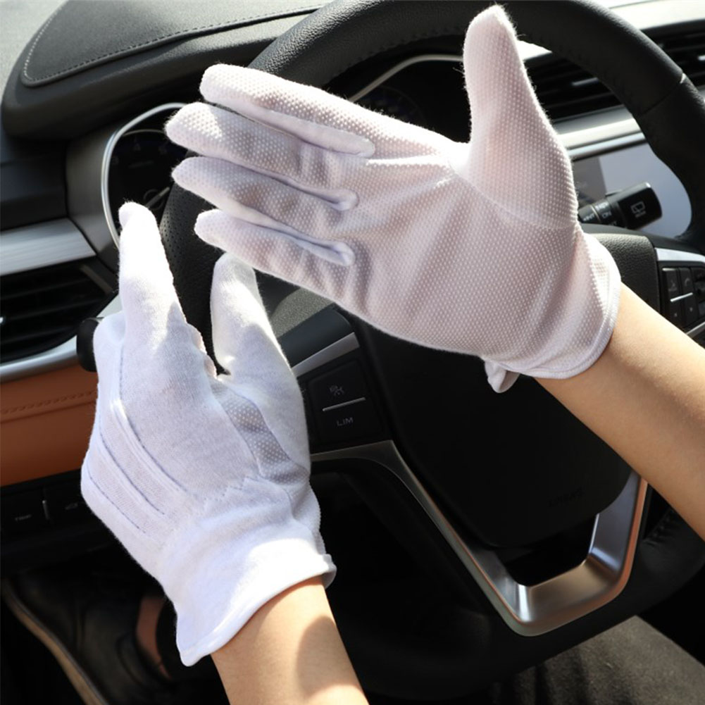 1 Pair White Safety Gloves Cotton Working Gloves Men Elastic Workers Hands Protection Drivers Jewelry Concierge Inspection