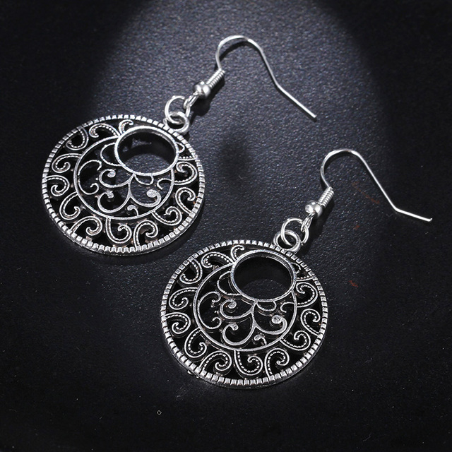 RscvonM New Boho Vintage Tibetan Silver Round Ear Hook Tribal Earrings Retro Big Flower Long Hanging Earrings Statement Jewelry 3