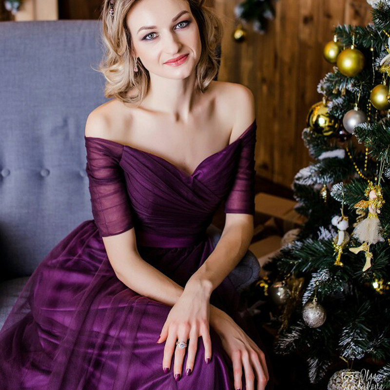 Customize Long Purple Red Woman Evening Dresses 2019 A Line Off the Shoulder Half Sleeve Special Occasion Dresses robe de soireeEvening Dresses   -