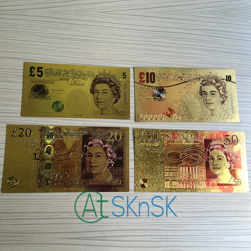 Full 4PCS/Set Great Britain GOLD <font><b>Banknote</b></font> 5/10/<font><b>20</b></font>/50 Pounds UK Pound Notes <font><b>EURO</b></font> <font><b>Banknotes</b></font> Collections Gift image