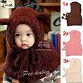 Baby Hat With Scarf Toddler Winter Beanie Warm Hat Hooded Scarf Earflap Cute Cartoon Kids Hat Scarf Set Bear Style 1set WJ012