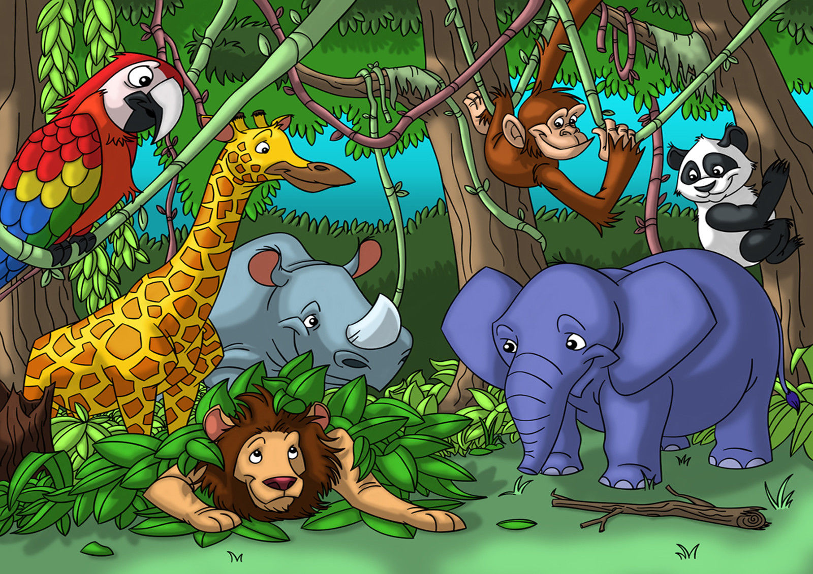 Preis auf jungle animal paintings vergleichen   online shopping ...