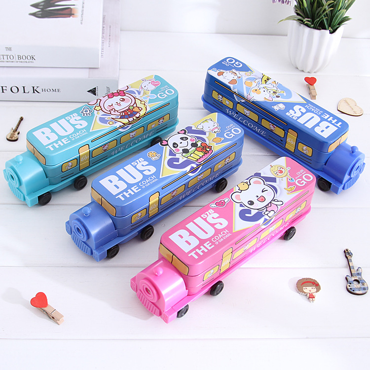 Cartoon Kawaii Car Train Metal Pencil Case For Kids Three Layers Pencilcase Box School Stationery Children's Birthday Gift