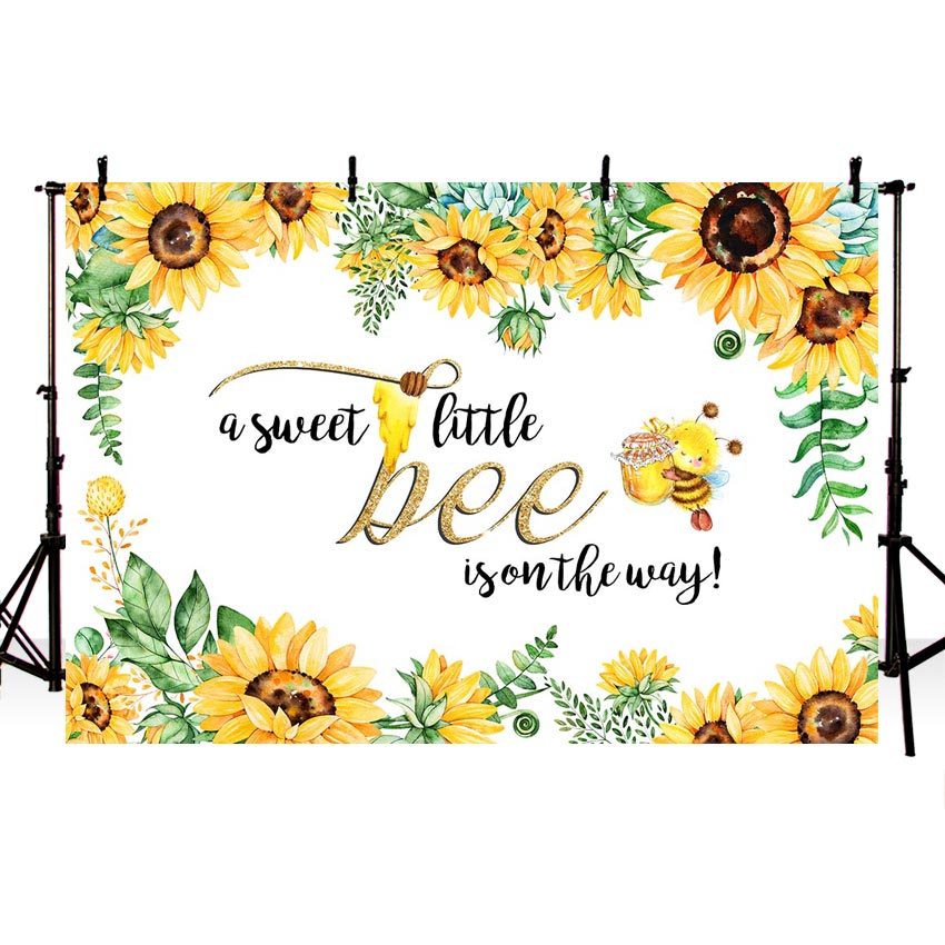 MEHOFOTO Bee Baby Shower Backdrop A Sweet Little Sunflower Photography Background Honey Bumble Party Banner