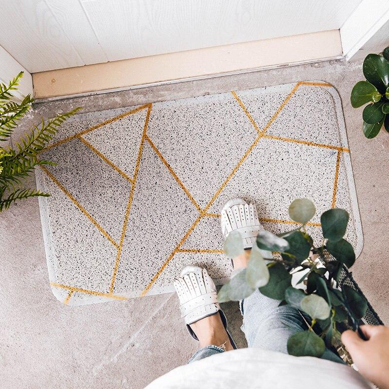 PVC soie boucle anti-poussière imprimé tapis et tapis marbre géométrie noir doré extérieur paillasson chaussures grattoir pour salle de bain tapis