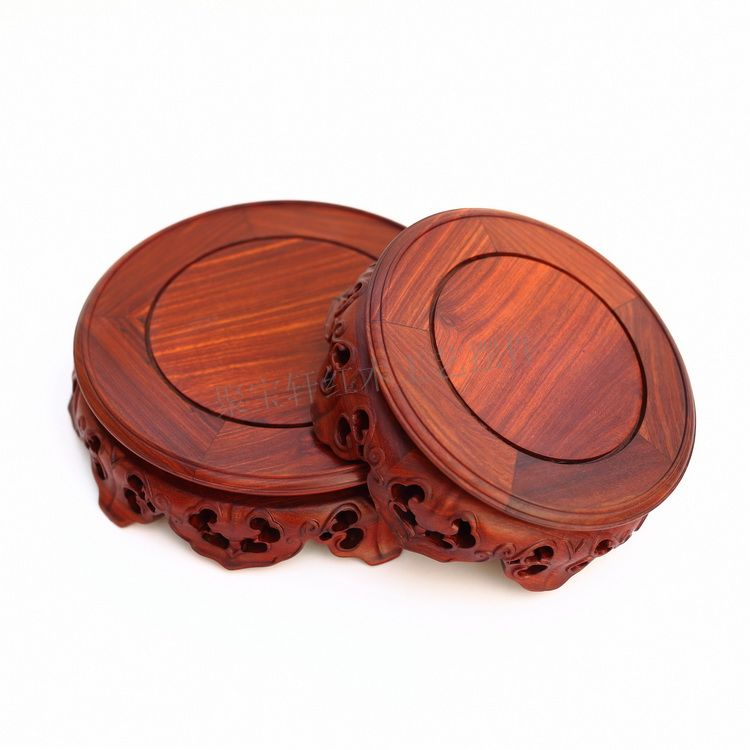 Redwood carving handicraft furnishing articles wooden Buddha vase household act the role ofing is tasted a circular base solid wood carved wooden vase flowerpot tank round big base household act the role ofing is tasted handicraft furnishing