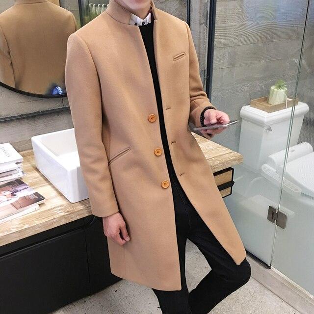 Новый 2018 Для мужчин бутик моды Однотонная одежда для отдыха в воротник стойка длинный однобортный шерстяной ткани пыли пальто /Для мужчин S куртка