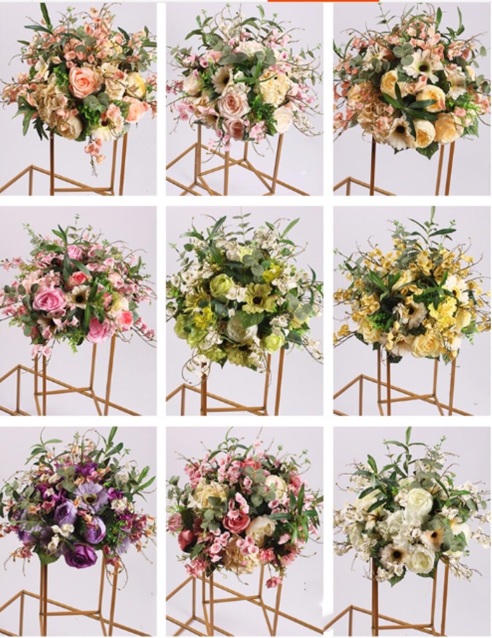 Soie fleur boule Flowe Rack pour mariage pièce maîtresse maison chambre décoration fête fournitures bricolage route plomb artisanat fleur 9 couleur