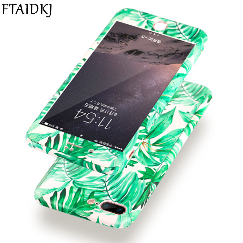 360 Degree Full Body Protection Green Plant Leaf Hard Case For iPhone X 10 6S 6 7 8 Plus 5 5S SE Flower Marble Stone Cover Coque 360 degrees