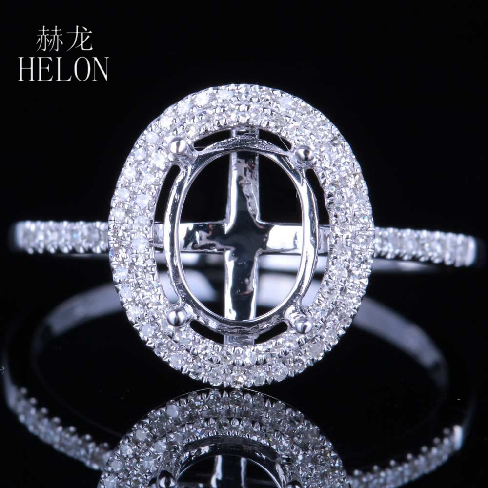 HELON Solid 10K White Gold Oval 7x9mm Semi Mount Setting Pave Natural Diamonds Ring Engagement Wedding Ring Women's Fine Jewelry vintage oval 7x9mm solid 18kt white gold diamond semi mount pendant wholesale fine jewelry for girl wp025