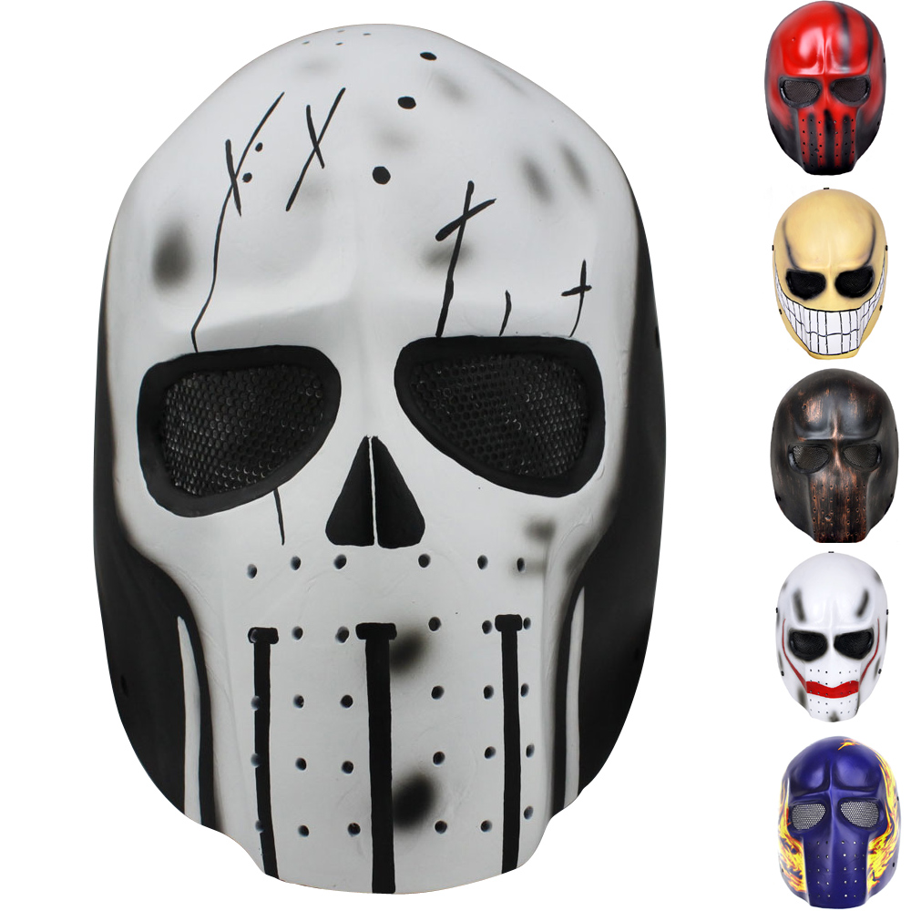 Tan Predator Ghost Skull Airsoft Paintball Masque de protection militaire Halloween