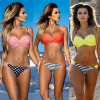2017 Push Up Bikini Fluorescent Swimwear Women Yellow Swimsuit Bathing Suit Beach Wear Brazilian Maillot De