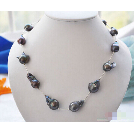 """P4019 20"""" 20mm black BAROQUE KESHI REBORN PEARL gild drivepipe necklace Noble style Natural Fine jewe FREE SHIPPING"""