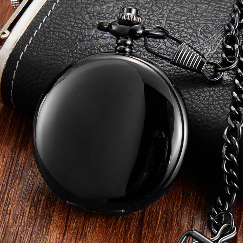 Luxury Black Smooth Dial Mechanical Pocket Watch Men Roman Numerals Watch With Chain Skeleton Unique Hand Wind FOB Pocket Watch
