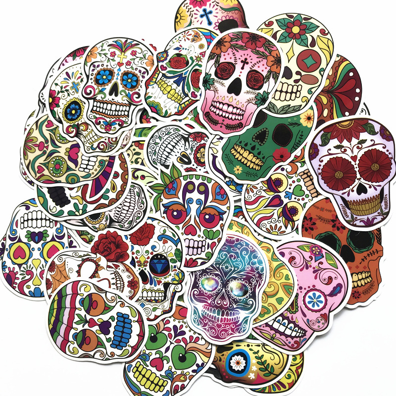 60PCS/Package Mexican Calaver Sugar Skull Car Sticker Skateboard Laptop Luggage Decals Car Styling Anime Graffiti Sticker Suitca