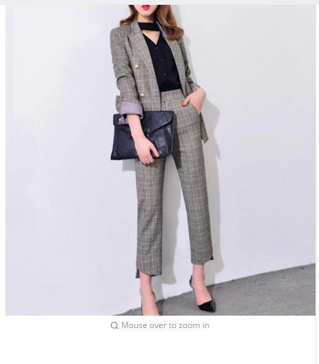 Womens 2017 Elegant pants suits work wear formal slim Plaid long-sleeve blazer and trousers office ladies blazer set J17CT2004