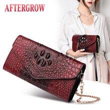 Alligator Women Envelope Bag Clutch bolsa croco canta Crocodile Female Shoulder Bags Good Quality Leather Ladies Summer Handbags