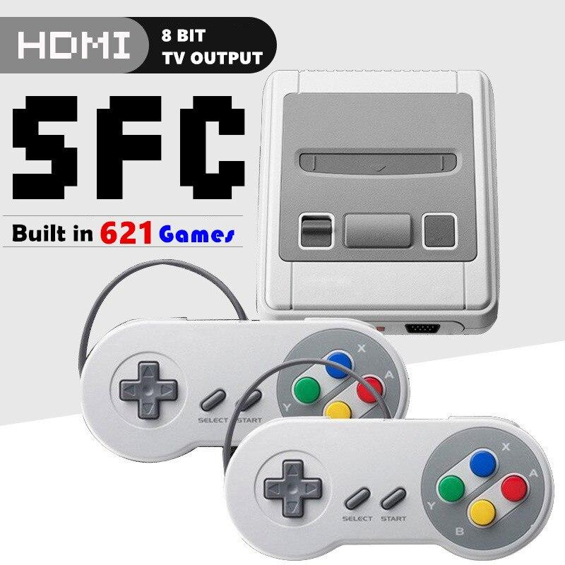 8 Bit Super Mini HDMI familia TV SNES consola de videojuegos Retro clásico HDMI HD salida TV reproductor de juegos portátil incorporado 621 juegos