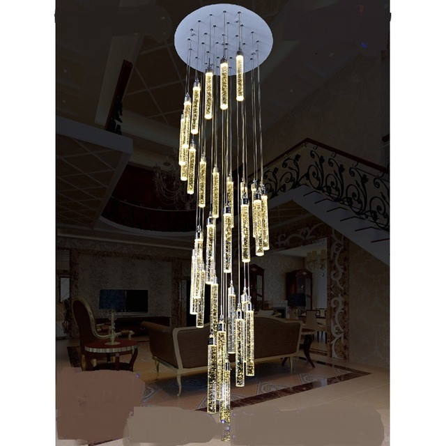 Stairs Lights Lamp Long Pendant Light Bubble Crystal Column Living