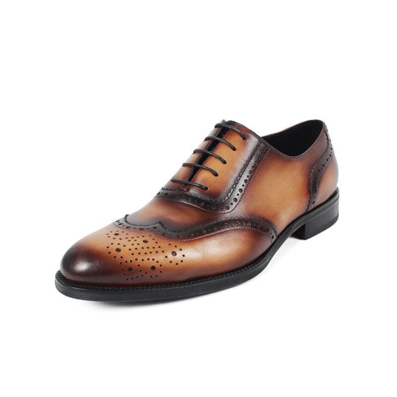 Genuínos Casamento Luxo Itália Dança Masculino Vintage Handmade Oxford Vestido Vikeduo Homens Sapatos Couro Designer Brown Festa De Marca 2019 Retro q1Ewwx76v
