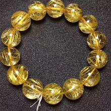 16mm Brazil Natural Gold Rutilated Titanium Quartz Bracelet For Woman Man Round Wealthy Crystal Beads Fashion Charms AAAAA