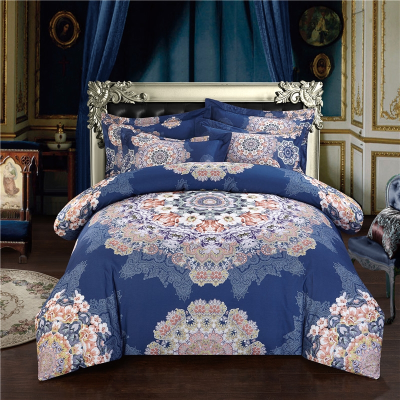 Boho Bohemian Designer Royal Blue Bedding Sets King Queen Size Quilt Duvet Cover Cotton Bed Sheet Set Bedspread Linen In A Bag