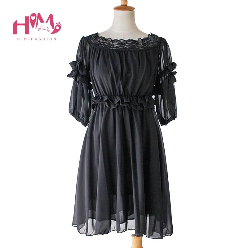 Buy Cheap Summer Women Dress Cute Lolita Black Chiffon Party Ruffles Lace Soft Sister Princess Boat Neck Sexy Female Fringed Dresses 2017