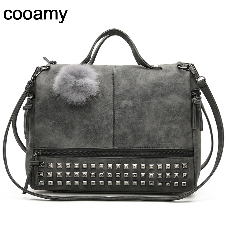 Fur Ball Women Handbag High Quality PU Leather Rivets Crossbody Bags Fashion female Messenger Bags Scrub Shoulder Bag For Ladies women pu leather messenger bag satchel ladies fashion crossbody shoulder bags high quality women s handbag large capacity totes