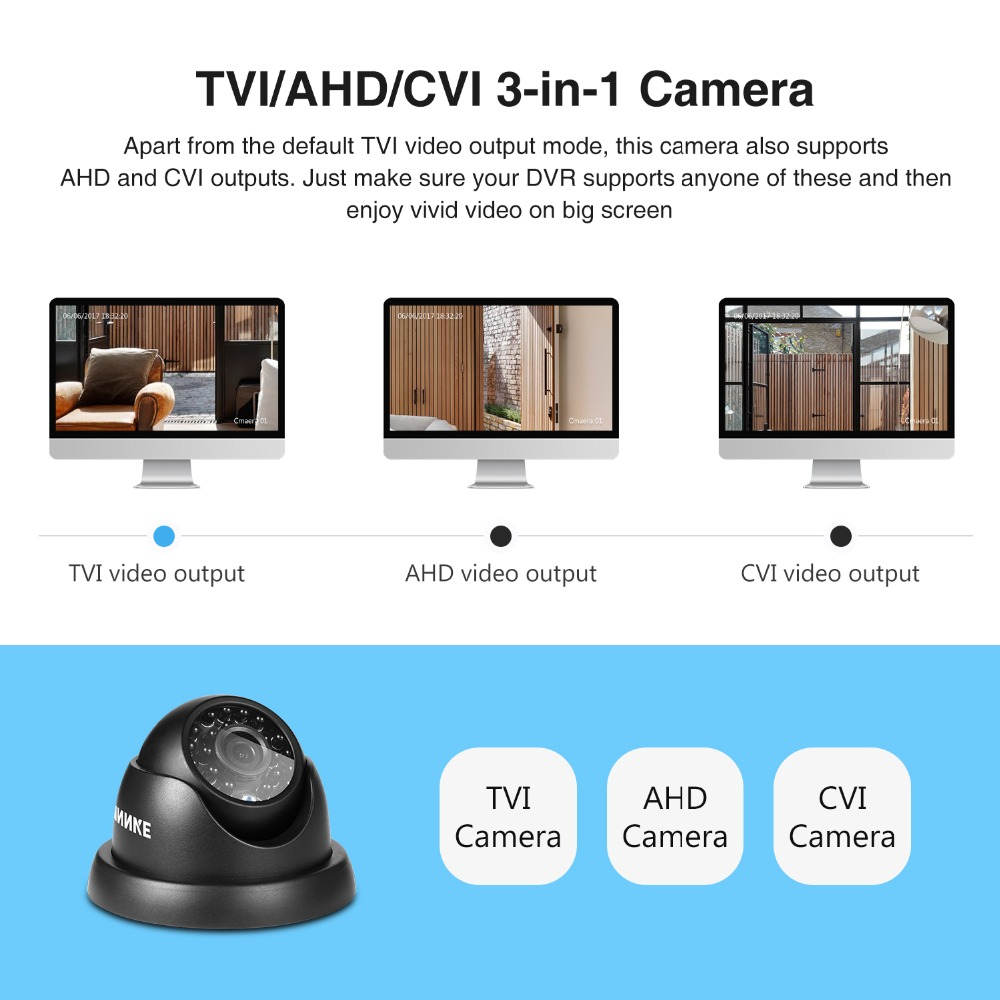 Image 4 - ANNKE 720P TVI AHD CVI 3IN1 Dome Camera 1280TVL Outdoor Indoor Fixed Camera Weatherproof Smart IR Cut CCTV Security Cam System-in Surveillance Cameras from Security & Protection