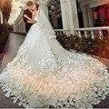 Роскошные Белые Свадебные Платья с Цветами Без Бретелек Белый Свадебные Платья Из Бисера Элегантные Свадебные Платья Собор Поезд