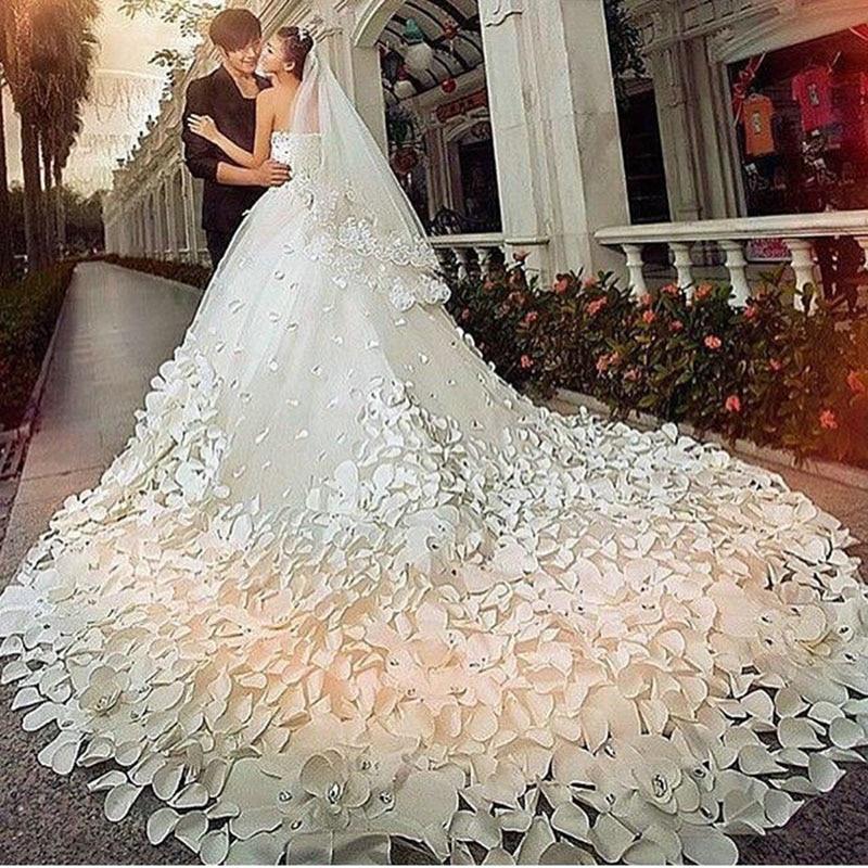 White Wedding Dress With Black Flowers: Luxury White Wedding Dresses With Flowers Strapless White