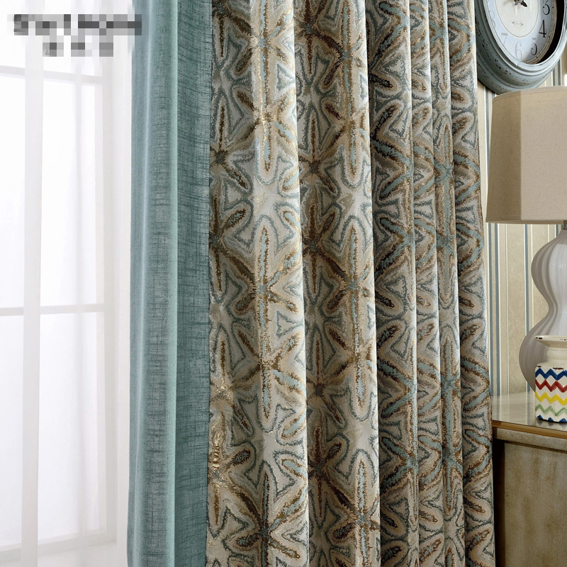 Us 33 0 Custom Curtains American Country Fabric French Simple Modern Geometric Mosaic Jacquard Cloth Blackout Curtain Tulle D N388 In