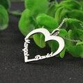 Par de Diapositivas personalizada Dos Nombre Collar Del Amor Del Corazón de Plata Maciza Colgante Nombre Personalizado