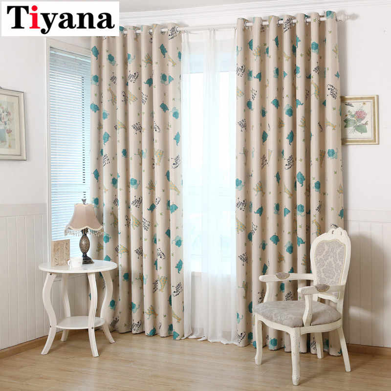 Tiyana Cartoon Blackout Beige Cloth Curtains White Voile Drape Customize for Children Bedroom Living Room Decoration DIY P137D2