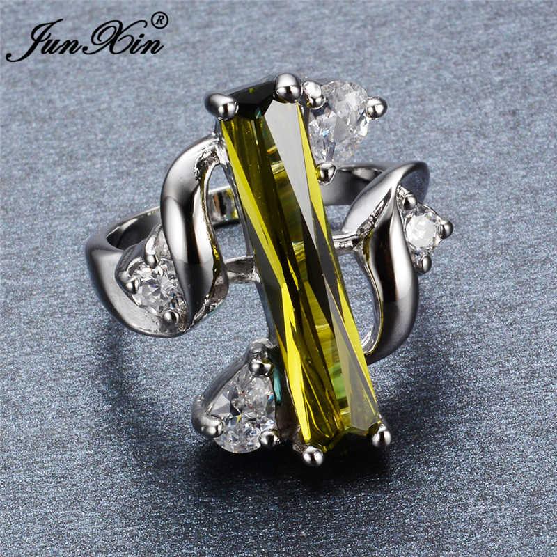 JUNXIN Size 8 Design Unico Peridot Anelli Per Gli Uomini E donne Oro Bianco Riempito Monili di Cerimonia Nuziale Degli Anelli Dell'annata Per Il Partito RW0288