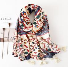 Vintage ethnic style scarf generous fashion color Floral print seaside holiday travel beach towel shawl цена 2017