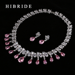 Image 3 - HIBRIDE Top Quality Tear Drop Shape AAA Cubic Zirconia Bridal Wedding Jewelry Sets,White Gold Color Jewelry Set N 59