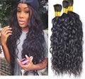 7A Brazilian Virgin Hair Natural Wave Curly Human Braiding Hair Bulk No Weft Human Hair for Micro Braids Natural Black  3 Pcs