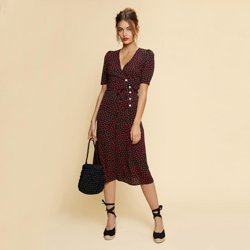 Women Dress Gabin New 2019 Red Heart Print Wrap Dress Short Sleeve V Neck Midi Dress