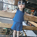 Toddler Girl Clothing Fashion Girls Back To School Outfit Denim Blue Jean Sleeveless Top Skirt 2 Pieces Girls Clothing Sets 2-6Y