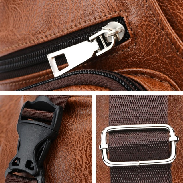 VICUNA POLO Leather Casual Set Series USB Charging Man Messenger Bag With Wallet Vintage Headphone Hole Anti-theft Chest Bag
