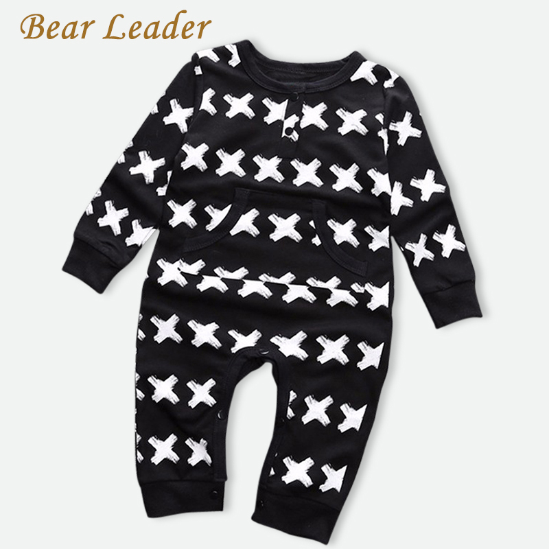 Bear Leader 2017 Brand Baby Girls Clothes Autumn Baby Boys Jumpsuits Cross pattern Print Newborn Rompers Winter Infant Coveralls new 2016 autumn winter kids jumpsuits newborn baby clothes infant hooded cotton rompers baby boys striped monkey coveralls