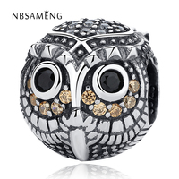 Authentic 100 925 Sterling Silver Charm Beads Owl With Cubic Zirconia Fit Pandora Bracelets Bangles Women