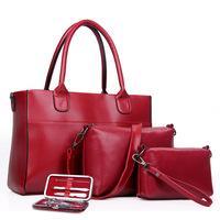 2017 New Fashion Set 4Pcs Women Messenger Bags +handbags +shoulder Bag Purse Wallets Famous Brands Solid Leather Christmas Gifts