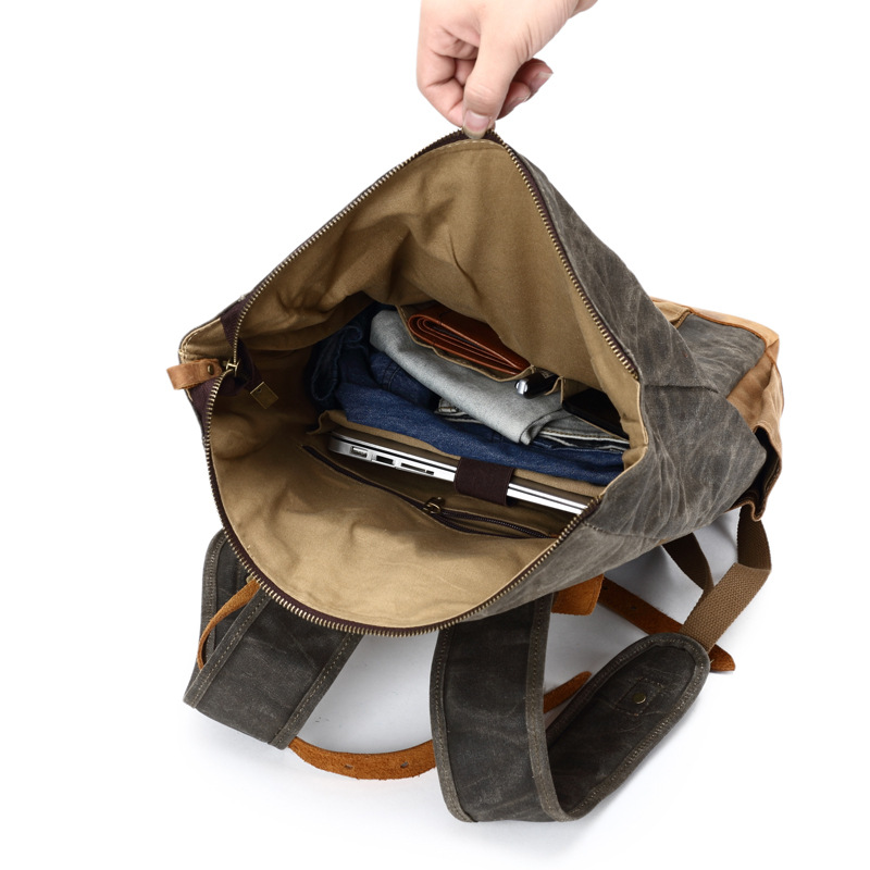 Men 39 s Backpack Laptop Backpack Large Casual Canvas Vintage Crazy Horse Skin Rucksack Vintage Durable Male Travel Bag Men Satchel in Backpacks from Luggage amp Bags
