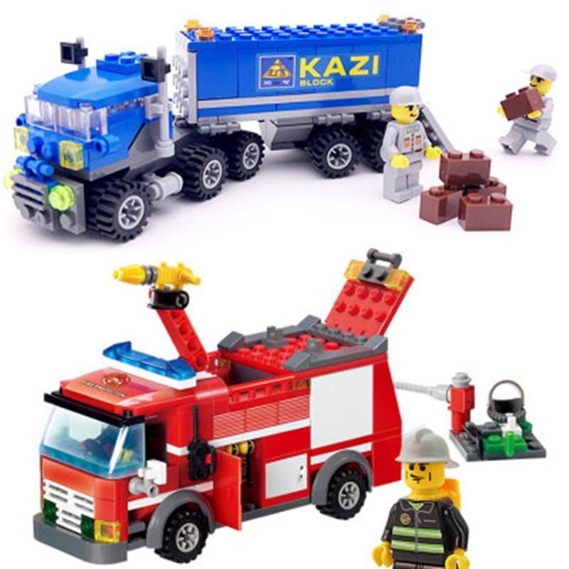 KAZI CITY SERIES Transport Truck AND FIRE TRUCK Building Blocks DIY Bricks Educational Toys for Children