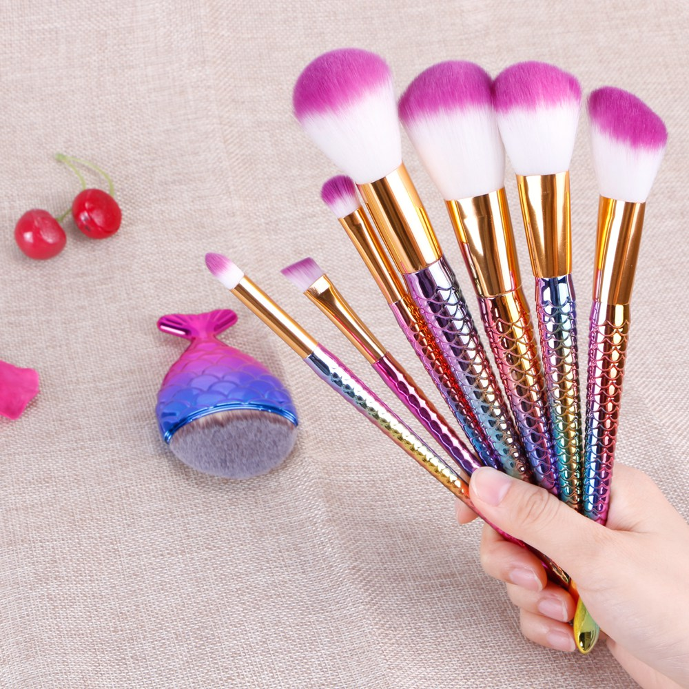 8Pcs Mermaid Shaped Makeup Brush Set Big Fish Tail Foundation Powder Eyeshadow Make-up Brushes Contour Blending Cosmetic Brushs 1 pcs deli big fish