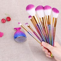 8Pcs Mermaid Shaped Makeup Brush Set Big Fish Tail Foundation Powder Eyeshadow Make Up Brushes