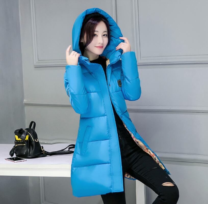 Low price Blue Women Winter Coat 2016 New Young Girls Parka Cotton-padded Jacket Outerwear Medium-long Clothing Plus Size M-3XL charter club new blue sky women s medium m cable knit crewneck sweater $59 359